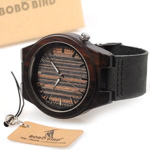 Image 4 - בובו ציפור WB13 אבוני עץ שעון מגניב לסחוב על 4 שעה עץ פנים חיוג רצועת עור שעונים לגברים