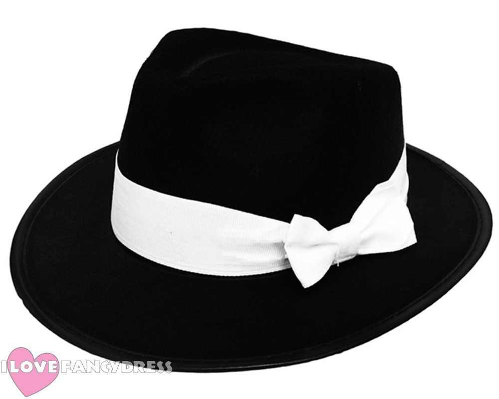 83270241 ... ADULT GANGSTER HAT BOWKNOT TRILBY AL CAPONE GATSBY1920'S FANCY DRESS  PARTY MEN WOMEN DANCE DANCING STAGE ...