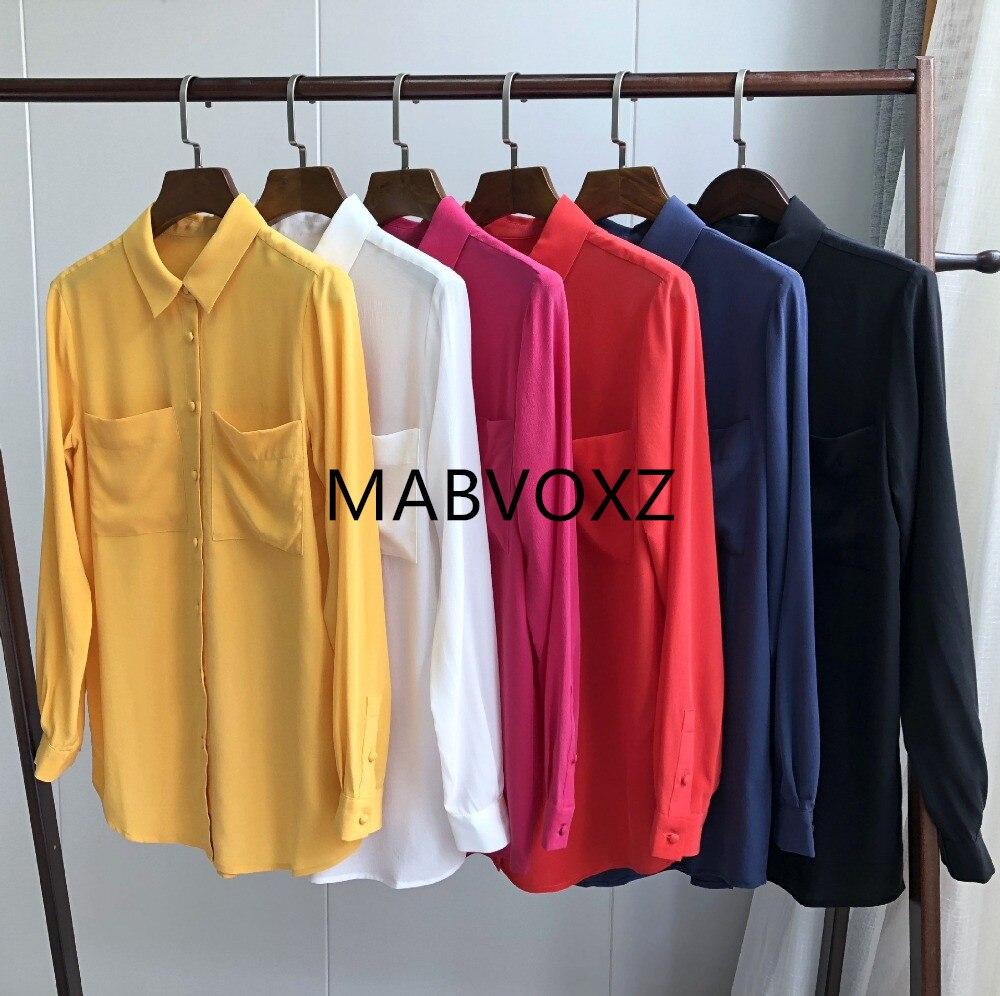 Women Silk Blouse Long Sleeve Double Pockets Turn Down Collar Soft Elegant Shirt Top French Chemise