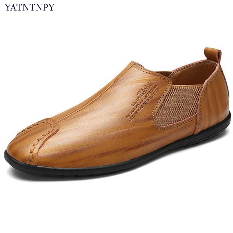 YATNTNPY Brand new  men casual shoes genuine leather shoes man slip-on mocassins fashion zapatos hombre flat sapatos man casual soft loafers cow genuine leather new driviers shoes vintage slip on men sapatos masculinos flat creepers shoes casual