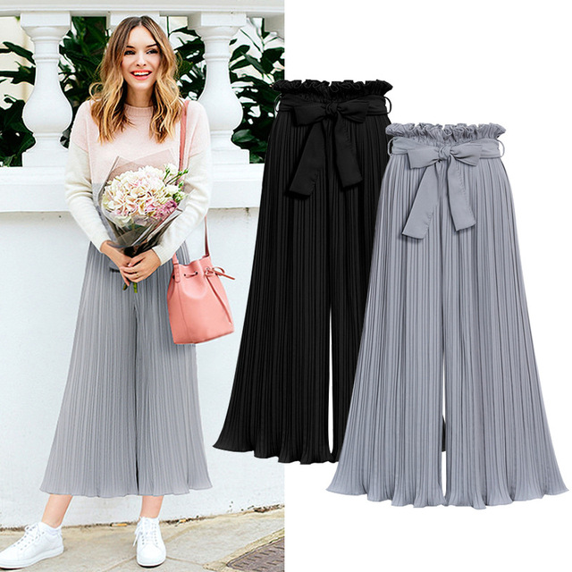 Ladies Spring and Summer High Waist Pleated Chiffon Wooden Ear Wide Leg Pants Loose Cropped Trousers