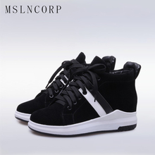 Size 34-43 Women Fashion Mesh Breathable Sneakers Wedge Hidden Heel women Casual Shoes Outdoor Sport White Sliver