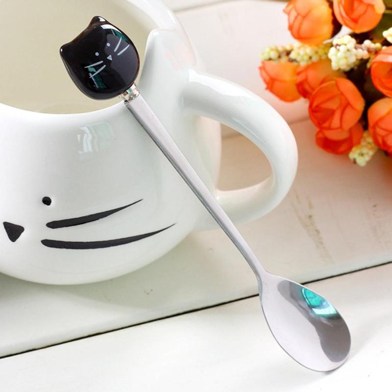 Cucchiaio di caffè inossidabile Forma di gatto Maniglia Dessert Cucchiaio Food Grade Gelato in acciaio Candy Cucchiaio da tè Piatti Stoviglie A20
