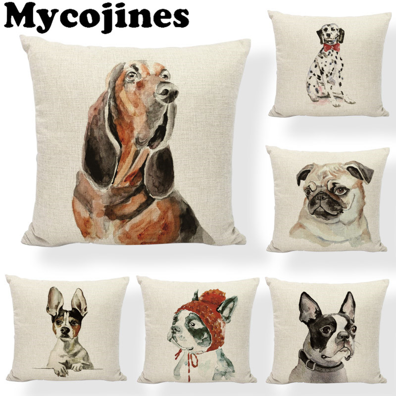 Home Textile Home & Garden Creative Lovely Siberian Husky Cushion Cover Oil Painting Cute Dog Collar 17*17in Pillowcase Butterfly Home Living Room Sofa Office Decor