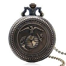 5aace9bcac8 Bronze Retro Estados unidos corpo de Fuzileiros navais Dos Homens do Relógio  de Quartzo Relógio de Bolso Colar Pingente Presente.