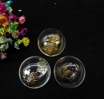 100pcs 25mm double hole round ball glass globe flower beads cap eye pin set diy glass vial pendant glass cover dome jar necklace