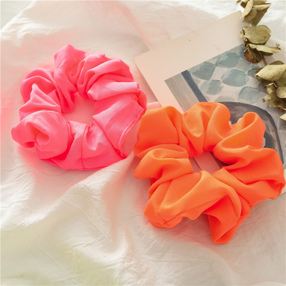 Fluorescent Color Elastic Hair Bands Orange Green Shiny Scrunchies Elastic Hair Ties Ponytail Bright Hair Accessories Headwear in Women 39 s Hair Accessories from Apparel Accessories