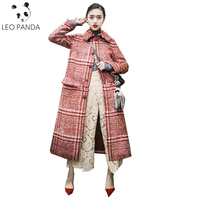 Ceintures Laine Automne Zx1132 Femmes De Le Red Mode Hiver Manteau Bas Lâche Tweed Plaid Vers Tournent Femelle Poitrine Unique Confortable nvrR8xqvwU