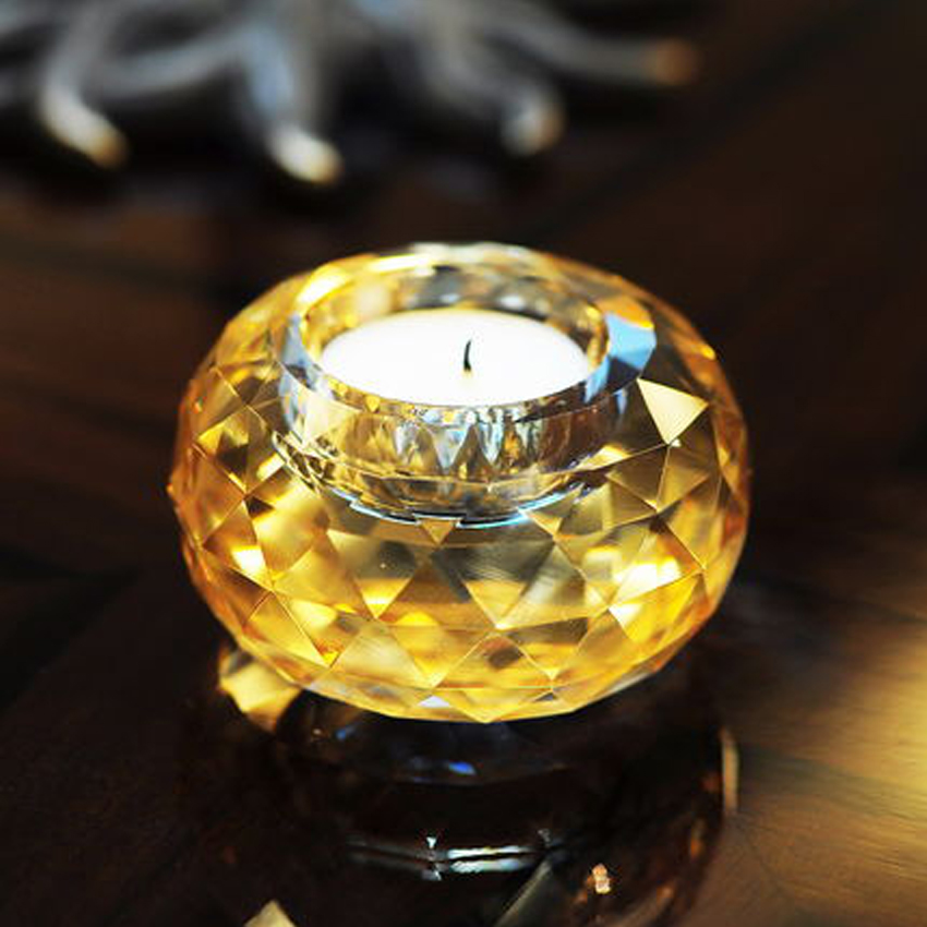 Europe Candle Holders Creative gold crystal candle holder Glass Globes crystal centerpieces wedding candelabra centerpieces in Candle Holders from Home Garden