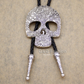 New Top Fashion Southwest Indian Big Skull Brocade Leather Lariat Neckace Bolo Tie Line Dance 2 Colors