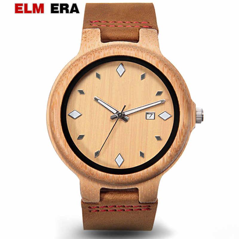 Reloj de madera ELMERA, relojes deportivos para hombre, relojes de 22mm de diseño pagano, reloj de madera de cuarzo para hombre, estuche de bambú de cuero