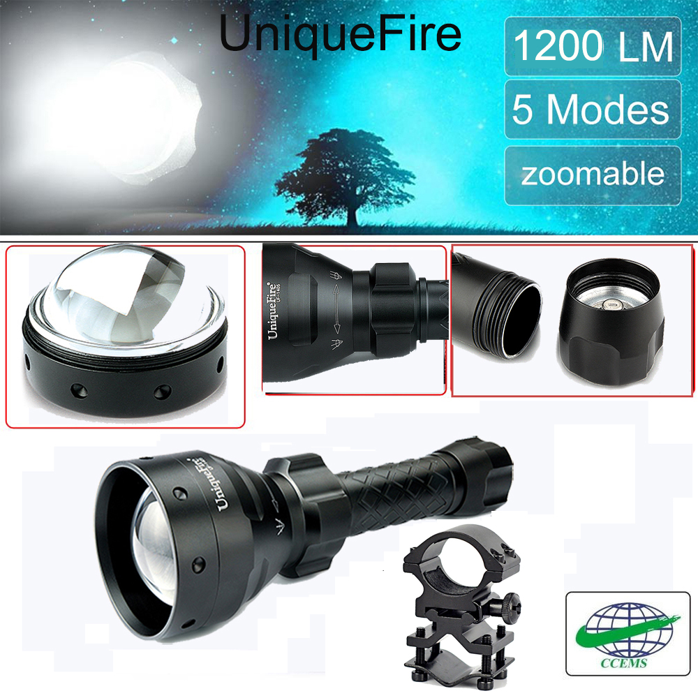 UniqueFire 1405 CREE XML T6 LED Tactical Flashlight 1200 High Lumens Ultra Bright (Water Resistant Torch) 5 Modes+Scope Mount цена