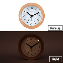 New Alarm Clock Wooden With Night Light Desk Snooze Function Quartz Table Modern Design For Home Decoration