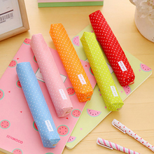 1 Pcs Cute kawaii Candy Color Pencil Case Kawaii Dot Canvas Pen Bag Stationery Gift Office&School Supplies school pencil case цены