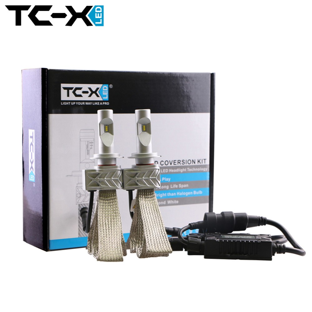 TCX H7 Car LED Light Bulb Headlight Conversion Kit Replacing Car Lamp Low Beam for Auto Driving Lights with Tinned Copper Braid