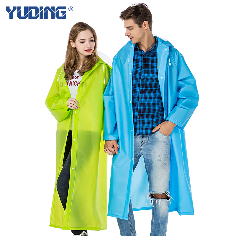 Hot sale translucent Environment plastic Safety Outdoor Travel Waterproof long Raincoat With Hood Over Knee Length free shipping