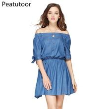 ФОТО 2018 summer dress women sexy loose slash neck mini jean dresses boho beach casual short sleeve ladies elegant denim maxi dress