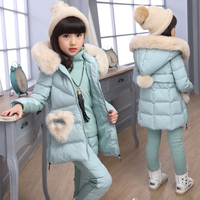 2019 Girl Winter Jacket Clothing Sets Snow Wear Baby Girls Sweatshirt Fashion Kids Clothes 3Pcs Thick Down Jacket+Vest+Trousers