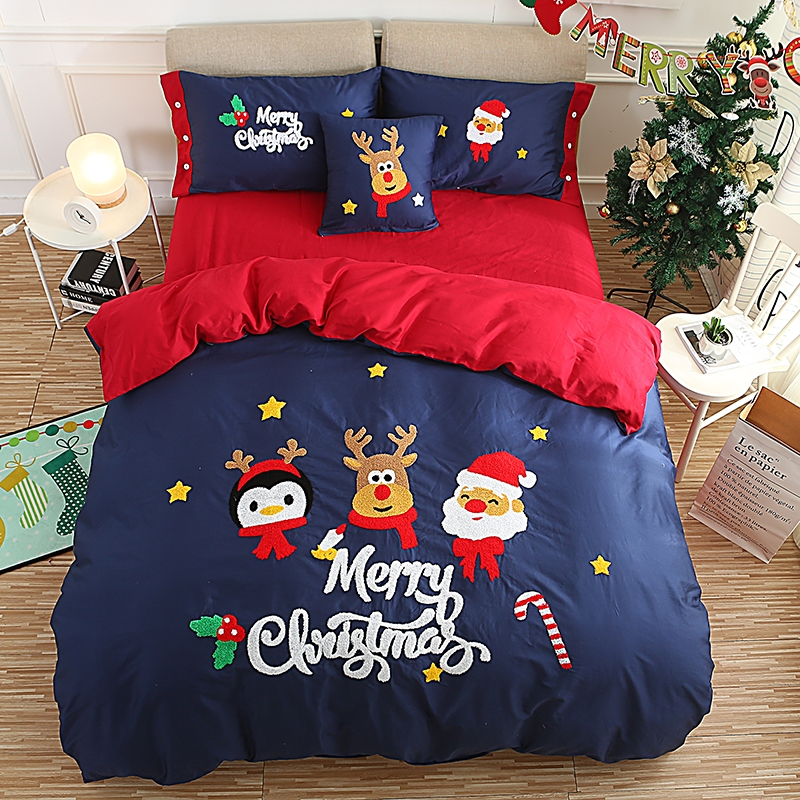 3/4/6 Pcs Twin Queen King Size Red Blue Christmas New Year Bedding Set Adults Kids Duvet Cover Bed Sheet Set Pillowcase Gifts