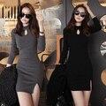 Женская мода сексуальное платье плотно пакет хип тонкий платья Осень зима женская выдалбливают нижняя платье черный серый # LX6038