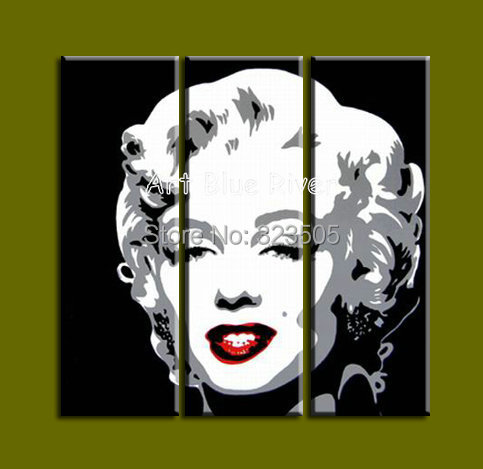 3 Piece Canvas Art Handmade Wall Abstract Pop Art Marilyn Monroe Bedroom  Sets Oil Painting Canvas