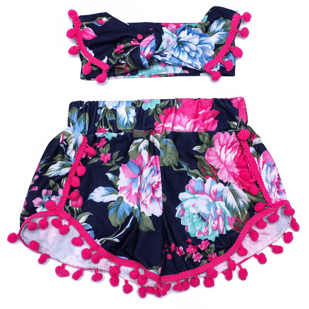 c86dfecce92 Damask Baby Girl Shorts Pom Poms Black and Pink Toddler Fashion hot pink pom  pom trim short girls headband