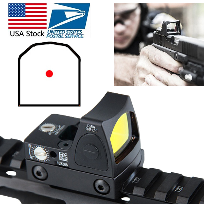 US Stock Mini RMR Red Dot Sight Collimator Glock Reflex Sight Scope fit 20mm Weaver Rail For Airsoft Hunting Rifle RL5 0004 2