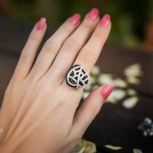 Unqiue двухслойные кольца с крупными листьями инкрустированные
