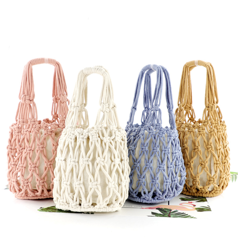 New straw bag thick cotton woven bag portable cotton net bag casual handbag beach bagNew straw bag thick cotton woven bag portable cotton net bag casual handbag beach bag