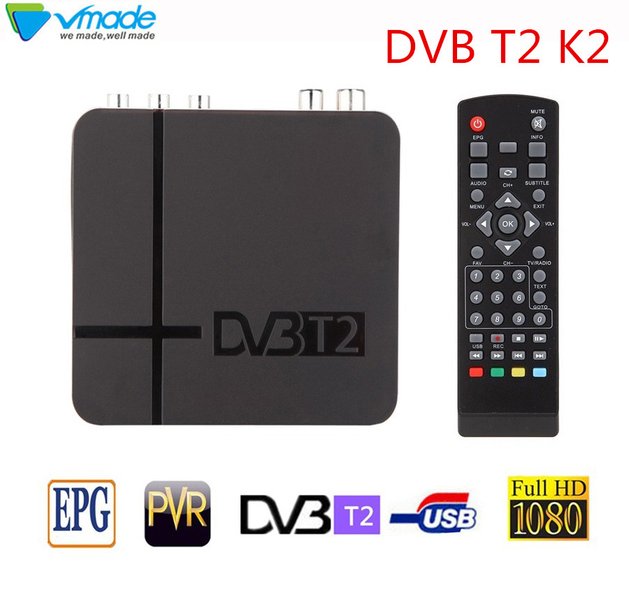 Vmade High Digital TV Terrestrial receiver DVB T2 K2 support youtube FTA H.264 MPEG 2/4 PVR TV Tuner  FULL HD 1080P set top box-in Satellite TV Receiver from Consumer Electronics