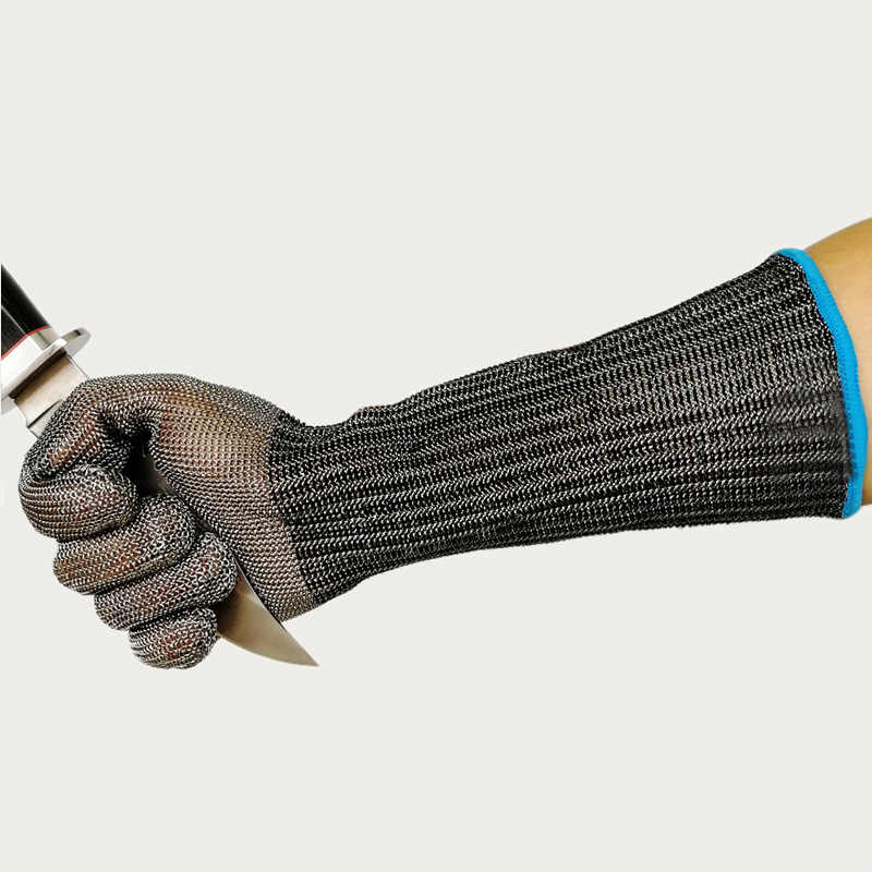 Długi Anti-cut rękawice 316L drut ze stali nierdzewnej odporna na nóż ręcznie ochraniacz na ramię ochronne połowu krabów ryby owoce morza cięcia mięso