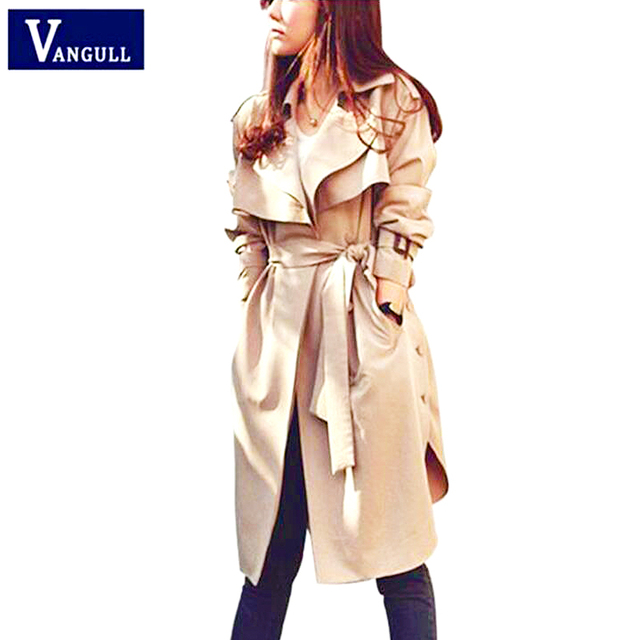 Fashion Women's Clothing 2018 Autumn & Winter casual loose long coat Turn-down Collar solid Single Breasted female Trench coat