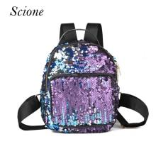 Famous Brand Designer Leather School Backpack for Teenagers Girl Sequins Shoulder Bag Women Casual BlingBling Travel Bag Mochila