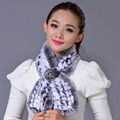 Real Rex Rabbit Fur Scarf Keep Warm Fur Solid Elegant New 2016 Women Genuine Winter Fluffy Scarves Free Shipping