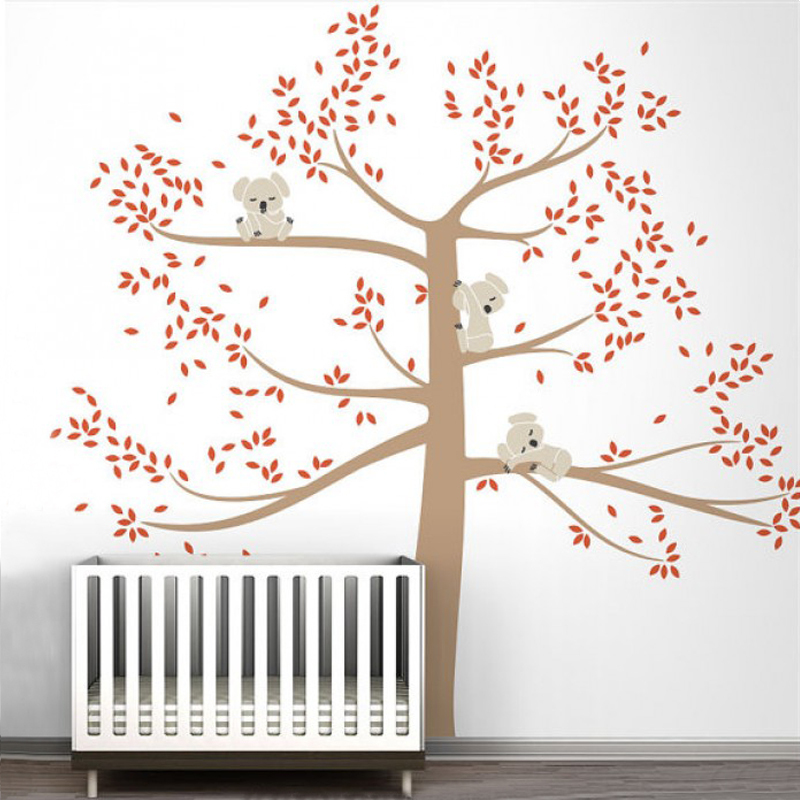 Large Koala Family On Tree Branch Vinyl Wall Sticker Nursery Art Removable Mural Stickers For Baby Kids Room Home Decoration In From