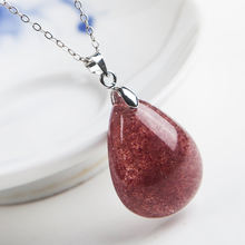 2019 Newly Natural Red Ice Strawberry Quartz Necklace Love Pendant Women 27x20x9mm Crystal Healing Clear Jewelry