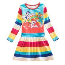 Baby girl NEAT long sleeves blue dress fashion color cute cartoon pattern princess dress party birthday girl dress child LH9113