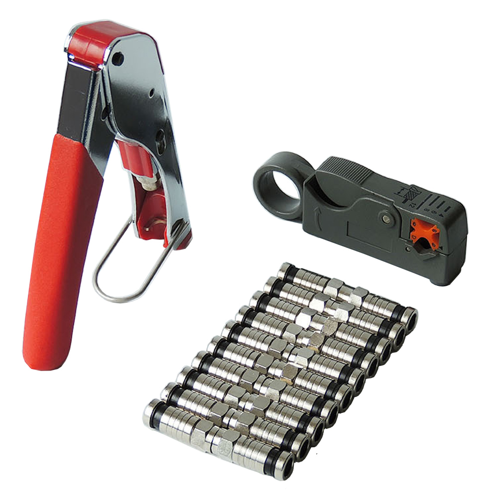 F RG6 RG59 Connectors Coax Coaxial Crimper Wire Stripper Compression Crimper Tool Kit 7410 1511 000 rf connectors coaxial connectors ssmb m ra b mr li