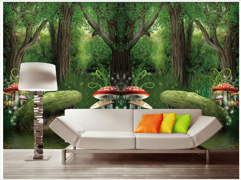 Custom 3d wallpaper wall murals Cartoon mushroom forest setting painting living room photo