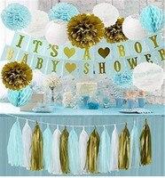 1 Set Gold Blue White Tissue Paper Pom Poms Lantern Honeycomb Ball It's A Boy Banner Baby Shower Decoration Pregnancy Photo Prop