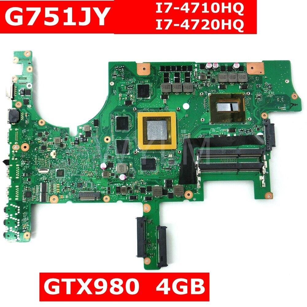G751JY Avec I7 CPU GTX980M 4 GB Carte Mère Pour ASUS G751J G751JY G751JT G751JL Ordinateur Portable carte mère 100% Testé Livraison gratuite