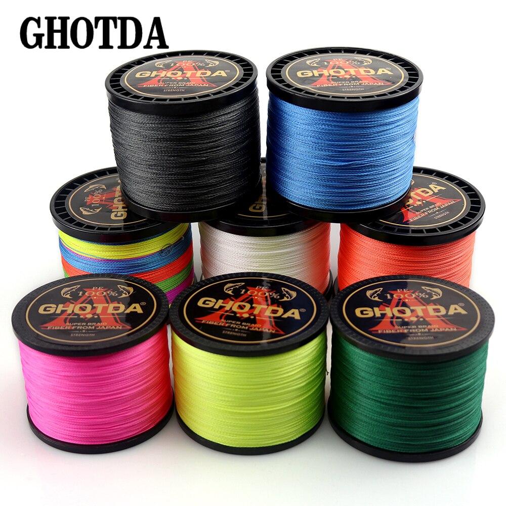 GHOTDA Multicolor 4 Strands 300M 500M 1000M PE Braid Fishing Line Sea Saltwater Fishing Weave 100% SuperPower