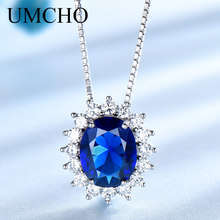 UMCHO Princess Diana Necklace Pendant 925 Sterling Silver Jewelry Created Sapphire Wedding For Women Gift  Fine