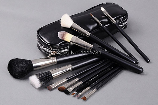 free shipping 12pcs hot sale brand makeup brushes cosmetic set styling tools make up sets with logo kit