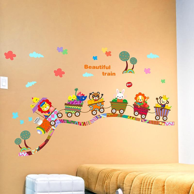 Lovely Cartoon Train Wall Stickers Creative Infantiles Wall Art DIY ...