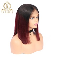 Brazilian Remy Hair Straight Lace Front Wigs T1B 99j 100% Human Hair Cheap Wigs Na Beauty Hair Free Shipping