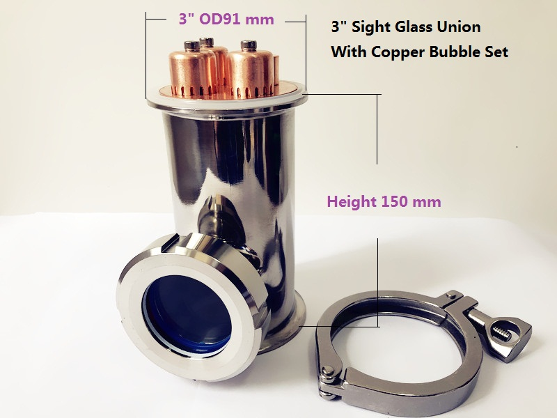 FreeShip 3 Sight Glass Union Tri Clamp Tee With Copper Bubble Set Distillation Lens Column For