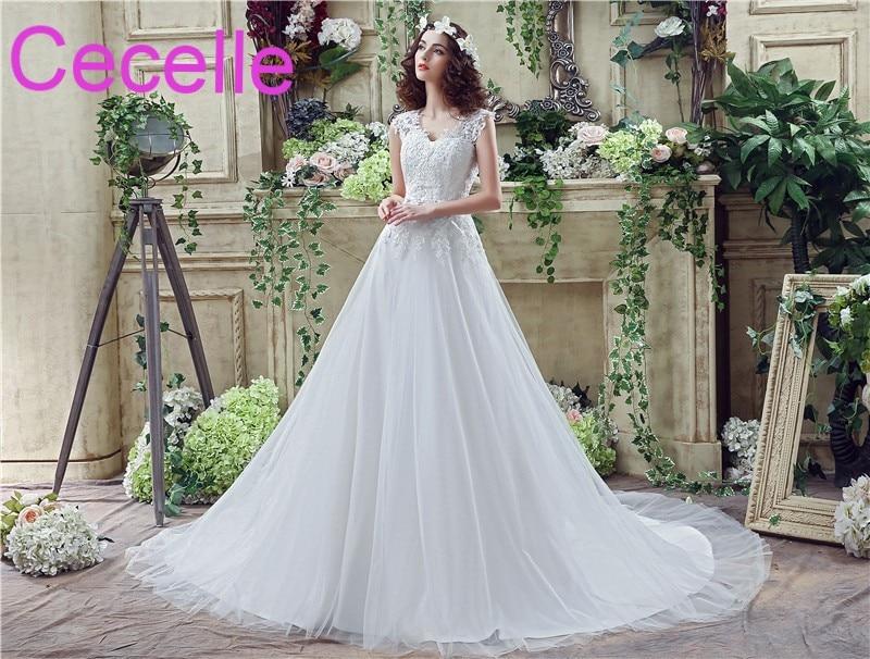A Line Informal Reception Wedding Dresses 2019 V Neck