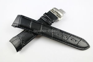 Image 2 - 22/23/24mm For T035407A T035617A T035627A T035614 High Quality Butterfly Buckle + Genuine Leather curved end Watchband belts