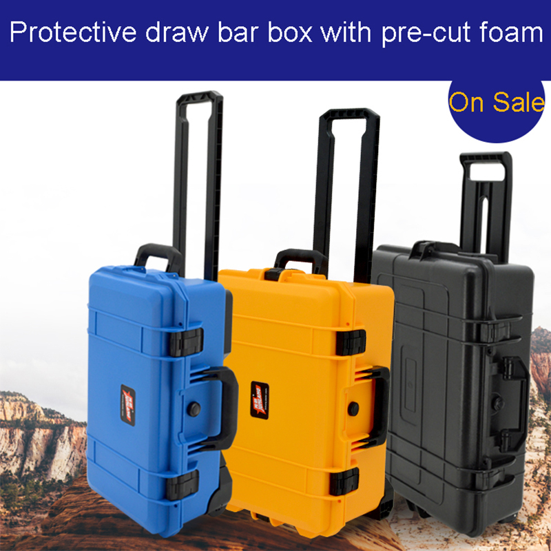 Waterproof Trolley Case Toolbox Waterproof Tool Case Protective Camera Case Equipment Box With Pre-cut Foam Shipping Free